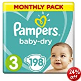 Pampers Baby Dry Size 3 Midi Monthly Pack - 198 Nappies