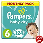 Pampers Baby Dry Size 6 Extra Large Monthly Pack--124 Nappies