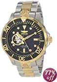 Invicta Men's 13705 Pro Diver Automatic Black Textured Dial Two Tone Stainless Steel Watch