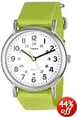 """Timex Unisex T2P1459J """"Weekender"""" Bright Green Slip Thru Nylon Strap Casual Watch"""