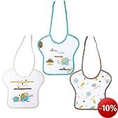 Babycalin Lot de 3 Bavoirs Naissance Brod�s et Imprim�s Fermeture Lacets