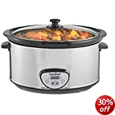 VonShef Automatic Electric Digital Slow Cooker 6.5L Litres Stainless Steel - Removable Oval Oven to Table Dish with Toughened Glass Lid + FREE '100 Slow Cooker Recipes' Book RRP £4.99