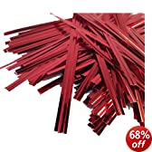 """100 Red 4"""" (100mm) Metallic Twist Ties / Bag Sealers Coloured Plastic with Wire FREE POST"""