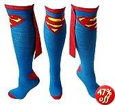 Superman Logo DC Comics Superhero Cape Knee High Socks