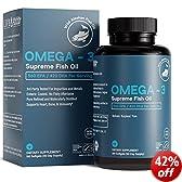 Omega-3 Supreme Fish Oil 1400 mg for Brain and Heart +75% Omega-3 644 EPA 336 DHA - Orderless, Burpless, Improved Absorption - 180 Softgels