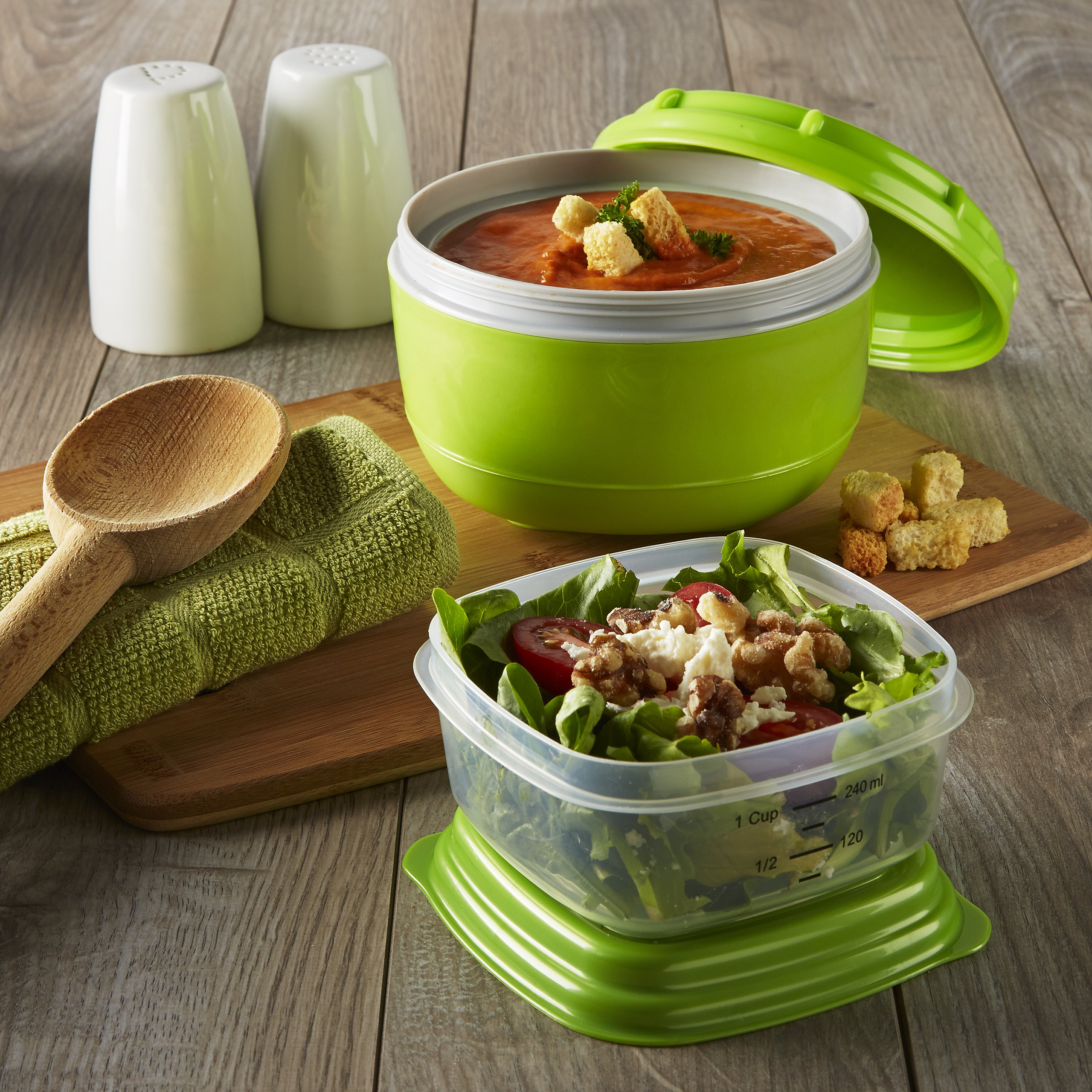 fit fresh fresh selects soup side lunch containers set of 2 ebay. Black Bedroom Furniture Sets. Home Design Ideas