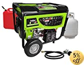 Smarter Tools ST-GP7500DEB Propane/Gasoline Generator with Electric Start and Battery, 7500-watt