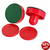 Vktech 2Pcs 75mm Air Hockey Table Felt Pusher with 2pcs 63mm Puck Mallet Goalies