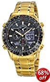 Accurist Men's Quartz Watch with Black Dial Analogue - Digital Display and Gold Stainless Steel Plated Bracelet MB1030B