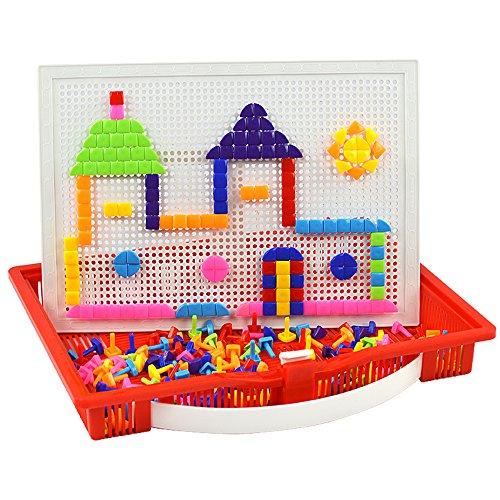 蘑菇钉插板玩具 儿童益智拼插积木玩具