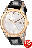 """Versace Men's VFI020013 """"Apollo"""" Rose Gold Ion-Plated Stainless Steel Casual Watch with Leather Band"""