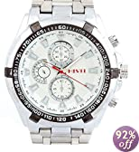 White Dial Stainless Steel Band Japanese Quartz Movement Watch Graduation Gift