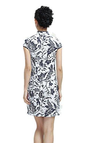 嘉彦姿 亚麻棉立领斜襟手绘中式连衣裙 民国风改良旗袍 日常复古夏装