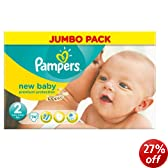 Pampers New Baby Size 2 (Mini) Jumbo Pack - 74 Nappies