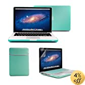 "GMYLE(R) 4 in 1 Turquoise Blue Rubberized (Rubber Coated) Hard Case Cover for 13.3"" inches Macbook Pro - with Turquoise Blue Soft Sleeve Bag and Silicon Keyboard Protector - 13 inches Clear LCD Screen Protector - (not fit for 13 Macbook Pro with Retina di"