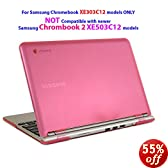 "iPearl mCover Hard Shell Case for 11.6"" Samsung XE303C12 series Chromebook (Wi-Fi or 3G) laptop ( Not Compatible with Samsung Chrombook 2: XE503C12 ) - PINK"