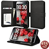 Abacus24-7 [Pocket Book Series] LG Optimus G Pro E980 Wallet Case with Flip Cover & Stand - Black