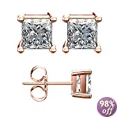 Princess Solitaire 7mm 18 Karat Rose Plated Stud Earrings with High Quality Cz Stones 3.00 Carat Total