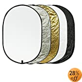 "Etekcity 24"" x 36"" (60cm x 90cm) 5-in-1 Portable Oval Collapsible Photo Reflector/Diffuser Multi-Disc Kit, For Studio & Outdoor Lighting"