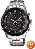 Casio Men's EQSA500DB-1AV Silver Stainless-Steel Quartz Watch with Black Dial