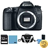 Canon EOS 70D 20.2 MP Digital SLR Camera with Dual Pixel CMOS AF (Body Only) 32GB Pro Kit - Includes camera, 32GB Secure Digital SD Memory Card, Compact Deluxe Gadget Bag - DC74m 3pc. Lens Cleaning Kit