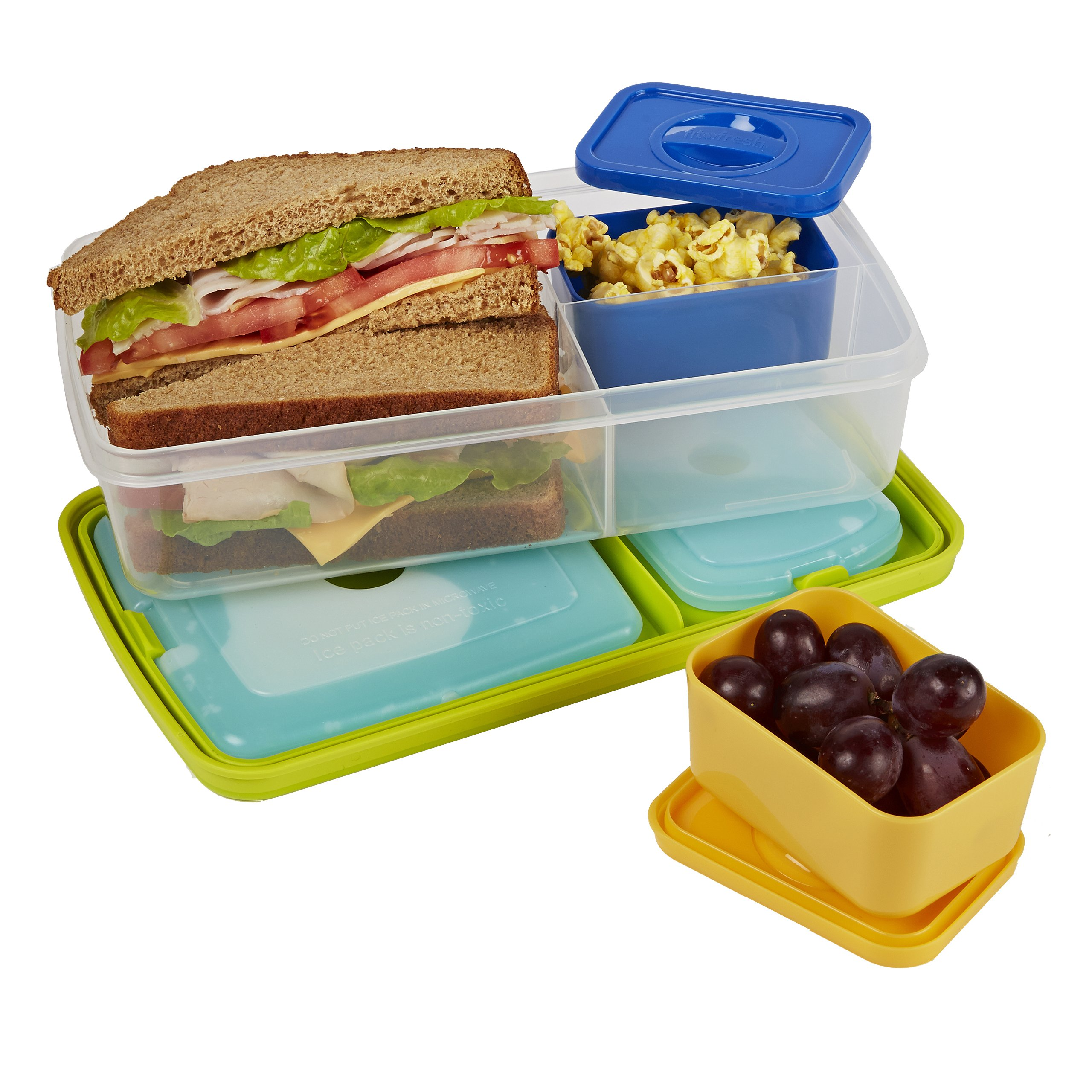 fit fresh insulated bento box lunch bag kit with carry. Black Bedroom Furniture Sets. Home Design Ideas