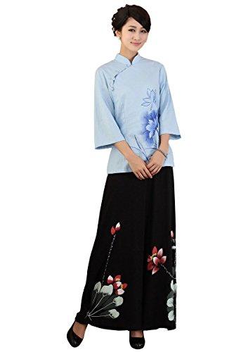嘉彦姿 亚麻棉手绘民国风改良汉服 中式七分袖唐装 改良旗袍上衣女装