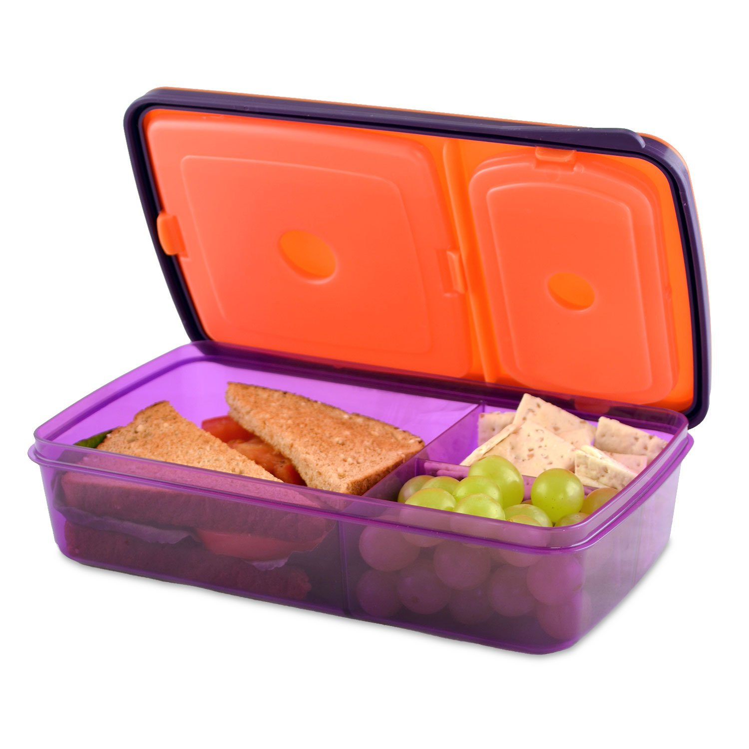 fit fresh soft touch bento lunch box 3 compartments kids or adults ebay. Black Bedroom Furniture Sets. Home Design Ideas