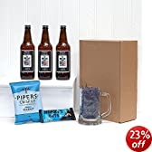 PERSONALISED 'Pub In A Box'- 3 x Bottles Yorkshire Ales with Personalised Labels, Engraved Glass Tankard & Mens Nibbles - Christmas Xmas Gift Hampers for Men Him Dad