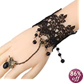 Yazilind Black Lace Slave Bracelets with Ring Lolita Butterfly Spider Tassels Beads