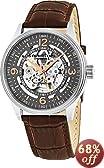 Stuhrling Original Men's 730.02 Delphi Automatic Skeleton Grey Dial Brown Leather Watch