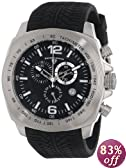 "Swiss Legend Men's ""Sprinter"" Stainless Steel and Black Silicone Black Dial Watch"