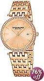 Stuhrling Original Women's 579.04 Soiree Swiss Quartz Swarovski Crystals Date Rose Tone Watch