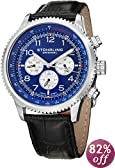 """Stuhrling Original Men's 858L.02 """"Octane Concorso Silhouette"""" Stainless Steel Watch with Black Croc-Textured Leather Band"""