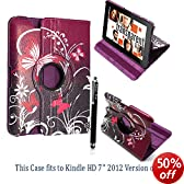 """STYLEYOURMOBILE AMAZON KINDLE FIRE HD 7"""" TABLET ULTRA BUTTERFLY PURPLE PRINT WITH BUILT IN MAGNET FOR SLEEP/WAKE STANDBY BOOK FOLIO PU LEATHER CASE COVER POUCH +STYLUS"""