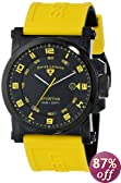 """Swiss Legend Men's 40030-BB-01-YAS """"Sportiva"""" Stainless Steel Watch with Logoed Yellow Silicone Band"""