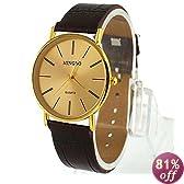 HACBIWA Classic Men Big Dial Brown Wrist Watch on Sale Gift