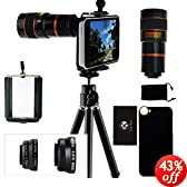 iPhone 5C Camera Lens Kit- 8x Telephoto Lens, Fisheye Lens, 2 in 1 Macro Lens and Wide Angle Lens, and Accessories (Black)