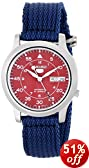 Seiko Men's SNKM95 Amazon Exclusive Stainless Steel Automatic Watch with Blue Canvas Band