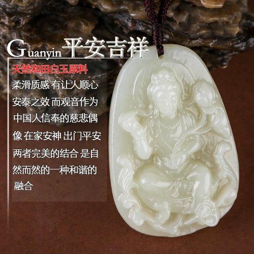 和田玉雕刻的观音,是玉石与信仰的一种完美的结合