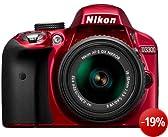 Nikon D3300 SLR-Digitalkamera Kit (24 Megapixel, 7,6 cm (3 Zoll) TFT-LCD-Display, Live View, Full-HD) inkl. AF-S DX 18-55 VR II Objektiv rot
