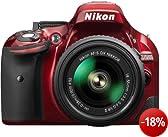 Nikon D5200 SLR-Digitalkamera (24,1 Megapixel, 7,6 cm (3 Zoll) TFT-Display, Full HD, HDMI) Kit inkl. AF-S DX 18-55 VR II Objektiv rot