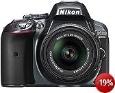 Nikon D5300 SLR-Digitalkamera (24,2 Megapixel, 8,1 cm (3,2 Zoll) LCD-Display, Full HD, HDMI, WiFi, GPS, AF-System mit 39 Messfeldern) Kit inkl. AF-S DX 18-55 VR II Objektiv anthrazit