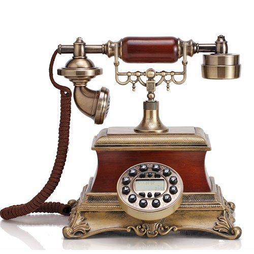 佳话坊 经典欧式仿实木 田园复古电话座机 仿古电话机