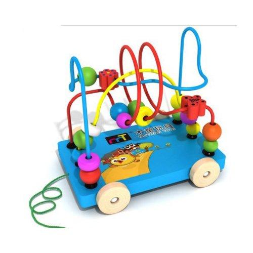 拖车绕珠串珠婴幼儿教具益智积木木制玩具车