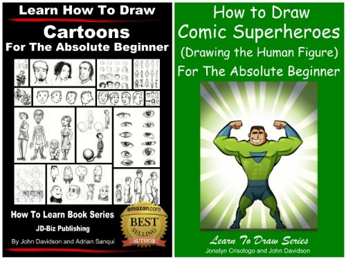 2-books-learn-to-draw-comic-superheroes-learn-how-to-draw-cartoons-for-the-absolute-beginner