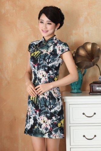 嘉彦姿 亚麻棉 新款手绘复古改良旗袍 民国风中式旗袍