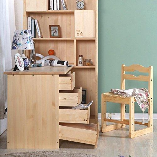 世香缘 松木家具 全实木 书柜 电脑桌组合 书桌 带门书柜 书橱 创意