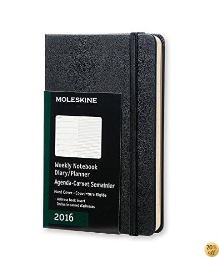 Moleskine 2016 Weekly Notebook, 12M, Pocket, Black, Hard Cover (3.5 x 5.5)