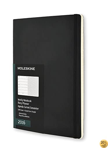TMoleskine 2016 Weekly Notebook, 12M, Extra Large, Black, Soft Cover (7.5 x 10)